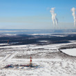 Aerial view of oil rig in winter — Stock Photo