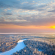 Top view of forest river at winter morning — Stock Photo