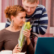 Young couple in cafe — Stock fotografie