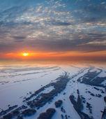Kışın güzel gün batımı ile orman alanı — Stok fotoğraf