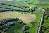 Top view above fields beside the river — Stock Photo