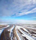 Forest of plain and small river in winter — Stock Photo
