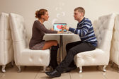 First date in cafe — Stock Photo