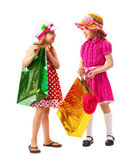 Two little girl with shopping bags — Stock Photo