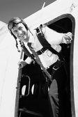 Businessman - paratrooper — Stock Photo
