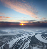 Aerial view of winter forest in evening — Stock Photo