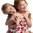 Little brother hugging sister — Stock Photo