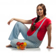 Pregnant woman with vegetables and fruits — Stock Photo #41619051