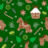 Christmas seamless texture with Christmas gingerbread — Stock Vector