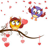 Card funny owls declaration of love — Stock Vector