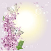 Floral background with butterflies and a lilac — Stock Vector