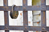Rusty lock on a lattice — Stock fotografie