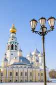 View of the St. Sophia Cathedral and belfry from the square in Vologda — Stock Photo