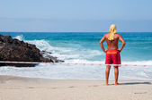 Lifeguard at the beach — Stock Photo