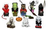 Devil, Frankenstein, wolfman, zombie, witch, death, mummy, pumpkin, ghost, vampire. — Stock Vector
