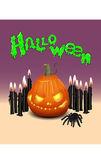 Halloween pumpa, spider och ljus — Stockvektor