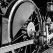 Grunge antique steam train wheel — Stock Photo