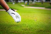 Hand hold golf ball — Stock Photo