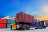 Forklift handling containers box  — Stock Photo