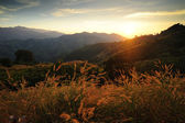 Sunsets over mountains. — Stock Photo