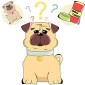 Ilustração de cães de personagem de desenho animado e alimento isolado no whit — Vetor de Stock