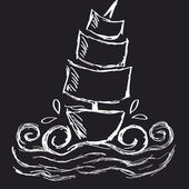 Illustration of hand draw white ship on a black background — Vettoriale Stock