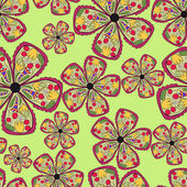 Hand draw background with colorful flowers — Vector de stock