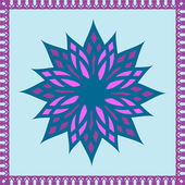 Seamless pattern with big colored flower and decorative ornament — Stock vektor