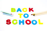Back To School letters, pencils and chalks. — Stock Photo