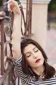 Mode flicka med make-up — Stockfoto
