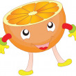 Happy cartoon oranges — Imagen vectorial