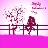 Happy Valentine's Day lettering Greeting Card on red background, vector illustration — Vettoriale Stock