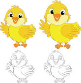 Chicks on the white background — Stock Vector