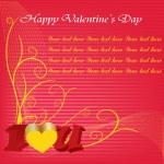 Happy Valentijnsdag kaarten met ornamenten, harten, lint, angel en pijl — Stockvector