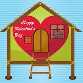 幸せなバレンタインの日カード ウィンドウで完全な家でキス — ストックベクタ