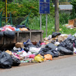 Bunch of garbage on the road — Stock Photo