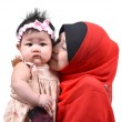 Young Asian muslim mother kissing her cute baby girl isolated on white background — Stock Photo #37807179