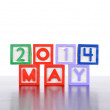 May 2014 word formed by wood alphabet blocks — Stock Photo #44933219