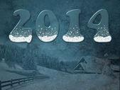 2014 inscription on the winter background — Vetorial Stock