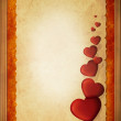 Hearts on vintage background Gold frame — Stock Photo