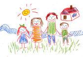 Happy family. Kids drawings — Stock Photo