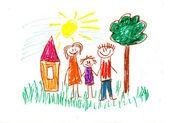 Familia feliz. dibujos de niños — Foto de Stock