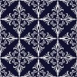 Dark blue and silver floral seamless wallpaper background. — Stock Vector