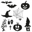 Halloween Silhouetten - Set — Stock Vector