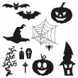Stock Vector: Halloween Silhouetten - Set