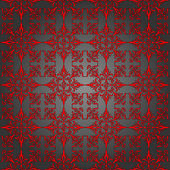 Luxury silver and red wallpaper. Seamless. Pattern — Wektor stockowy
