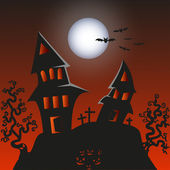 Haunted Monster house - Halloween background — Cтоковый вектор