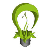 Green Bulb. Eco energy concept. Plant growing inside the lamp — Stock Vector