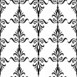 Damask seamless floral pattern. Royal wallpaper. Flowers and crowns in black on white background. Monochrome — Stock Vector