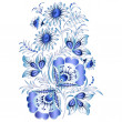 Russian national floral pattern in style Gzhel (a flowers of Russian ceramics, painted with blue on white). — Stock Vector #40134601